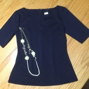 Ann Taylor navy knit top.  Sz M